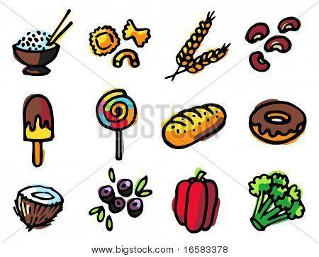 food illustrations 3 - illustrations - icons set -