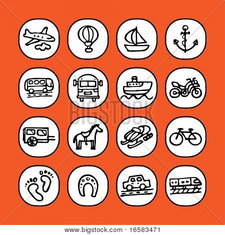 black and white icon set - transportation -