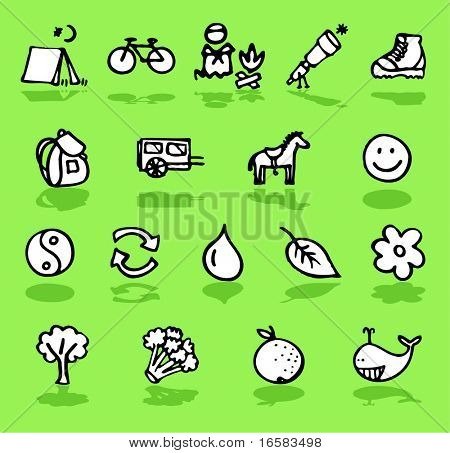 nature,camping,green icons set - illustrations - icons set -
