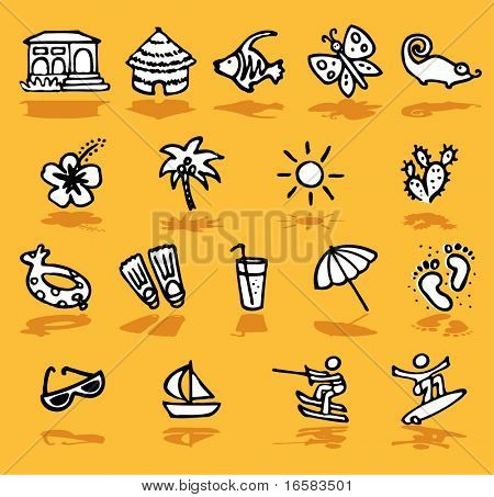 summer,holidays,sun icons set - illustrations - icons set -