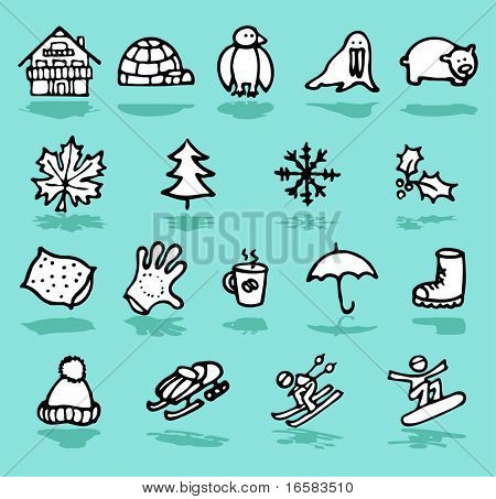 winter,holidays,snow icons set - illustrations - icons set -