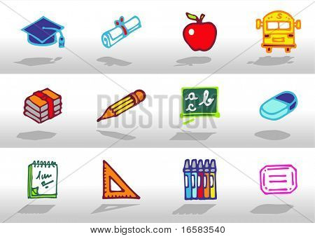 School icons - illustrations - icons set -