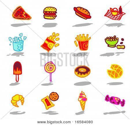 Farbe-Ikonen-Fast-food