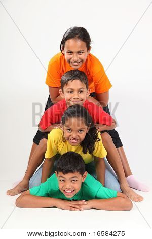 Playful friends in totem-pole