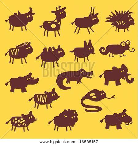 animais selvagens - silhuetas