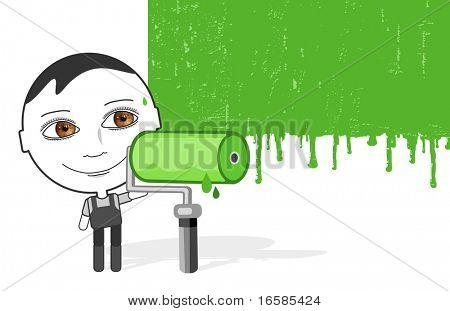 big eyes boy & green paint