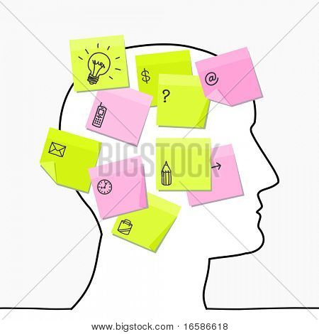 head & sticky notes