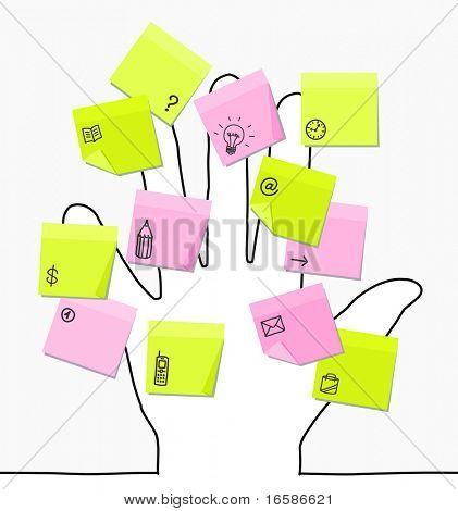 hand & sticky notes