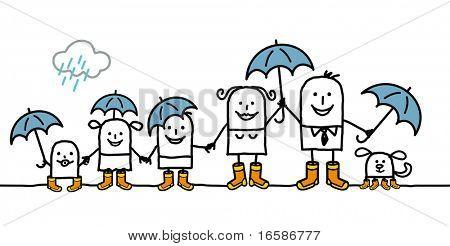 family and rain