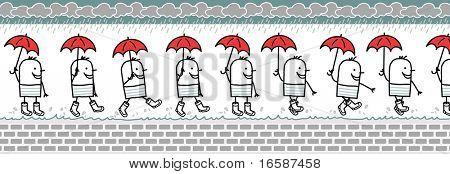 hombre con paraguas & lluvia botas - caminando el personaje de dibujos animados para sprite animado