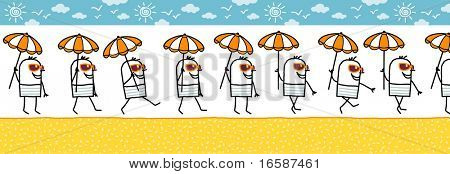 man with parasol & sun glasses -walking cartoon character for animated sprite