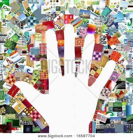 white hand on images patchwork