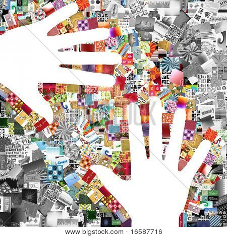 two white hands on images patchwork