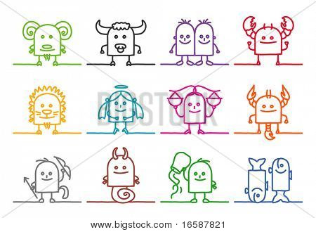 single line ZODIAC signs