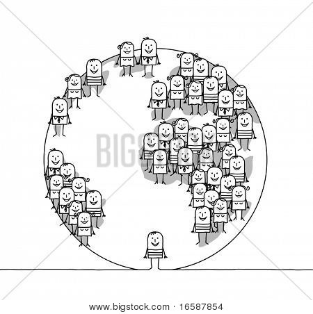 hand drawn cartoon characters - man & world
