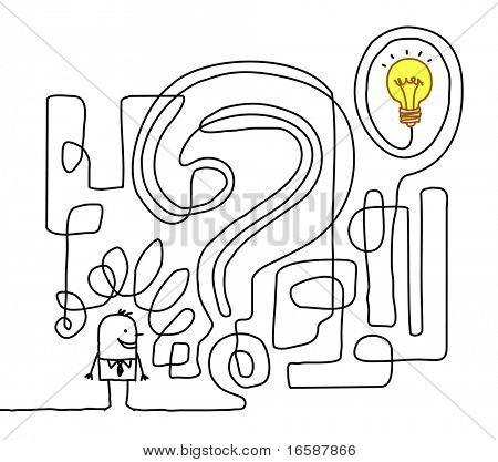 Hand-gezogene Cartoon-Figur, die Lösung zu finden