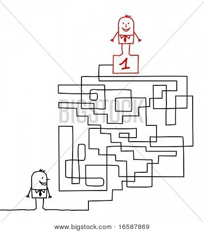 hand drawn cartoon character - going to the leadership