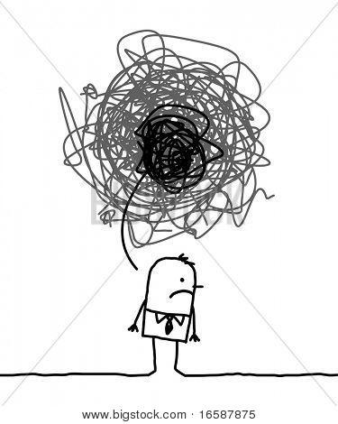 gezeichnete Cartoon Charakter deprimiert Mann