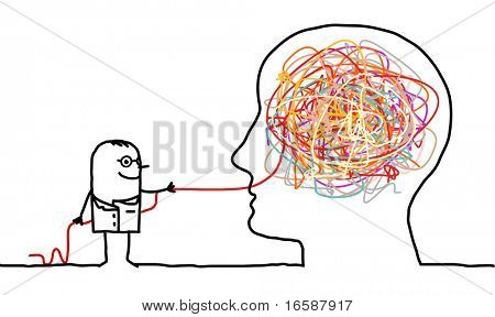 hand drawn cartoon character - doctor untangling a brain knot