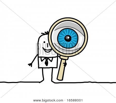 man with big eye & magnifying glass