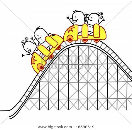 people on roller coaster