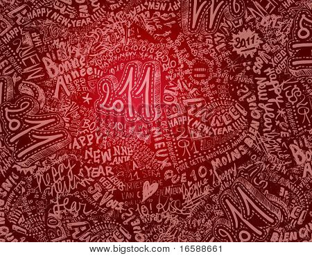 2011 sketchy & doodles red background