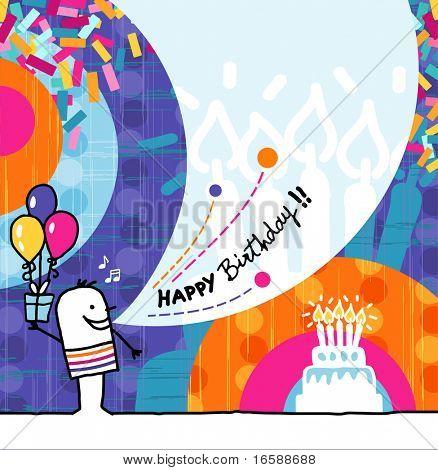 hand drawn cartoon & greeting card - Birthday