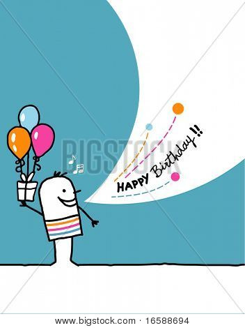 Cartoon hand drawn greeting card - Birthday
