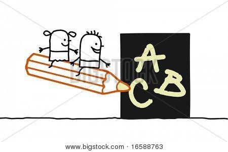hand drawn cartoon characters - kids at school 1