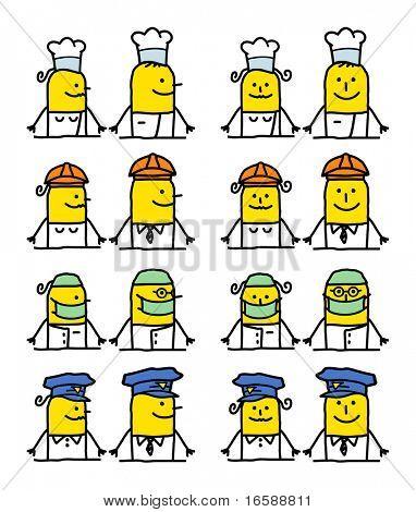 hand drawn cartoon characters - jobs