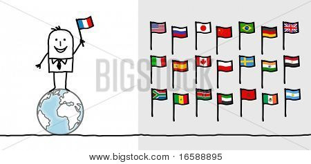 hand drawn cartoon characters - man & world flags