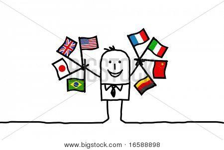 hand drawn cartoon characters - international businessman