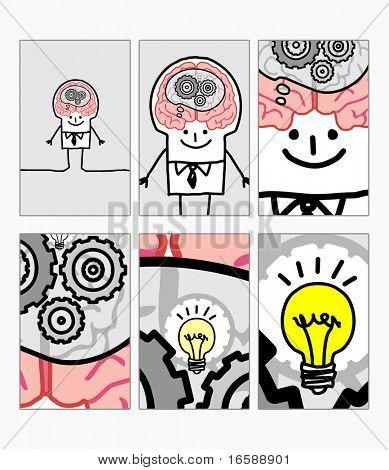 hand drawn cartoon characters - zoom on man - idea !