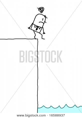 hand drawn cartoon characters - depressed businessman