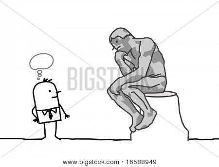 Hand gezeichnete Cartoon-Figuren der Rodin Denker Parodie