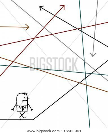 hand drawn cartoon character - businessman lost in a maze