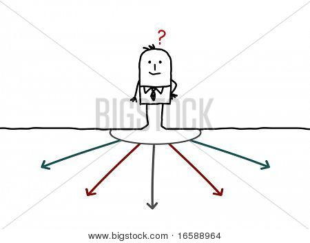hand drawn cartoon character - businessman choosing direction