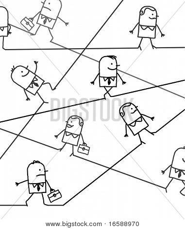 mão desenhada cartoon personagem - pessoas de negócios em todas as direções