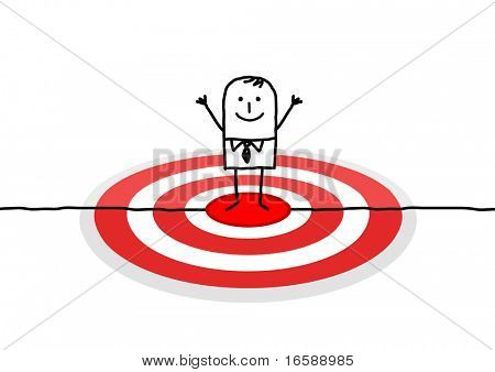 hand drawn cartoon character - man on red target