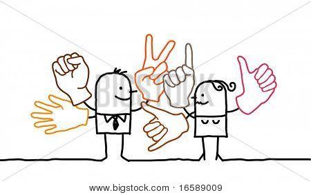 Hand drawn personajes de dibujos animados - lenguaje de señas