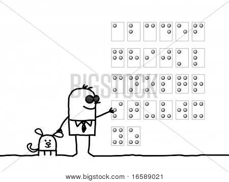 hand drawn cartoon characters - blind man reading Braille alphabet