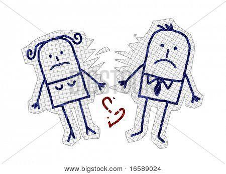 mão desenhada personagens de banda desenhada em papel marcado - casal & divórcio