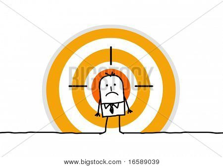hand drawn cartoon character - man on yellow target