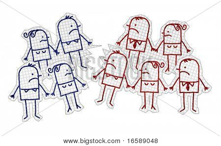 hand drawn cartoon characters on checked paper - broken & divided group