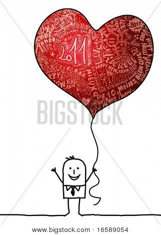 cartoon man holding a New Year red heart balloon