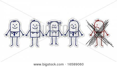 hand drawn cartoon characters on checked paper - excluded man