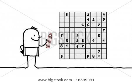 hand drawn cartoon character - man & sudoku