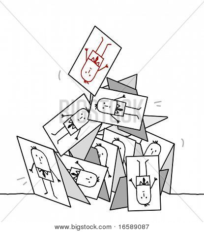 hand drawn cartoon characters - collapsing cards pyramid