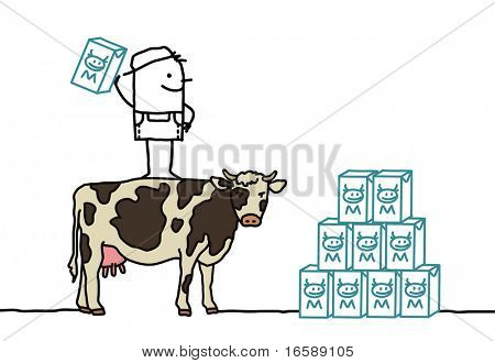 hand drawn cartoon characters - farmer & cow producing milk