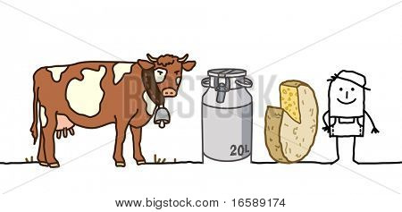 hand drawn cartoon characters - farmer with cow, milk & cheese